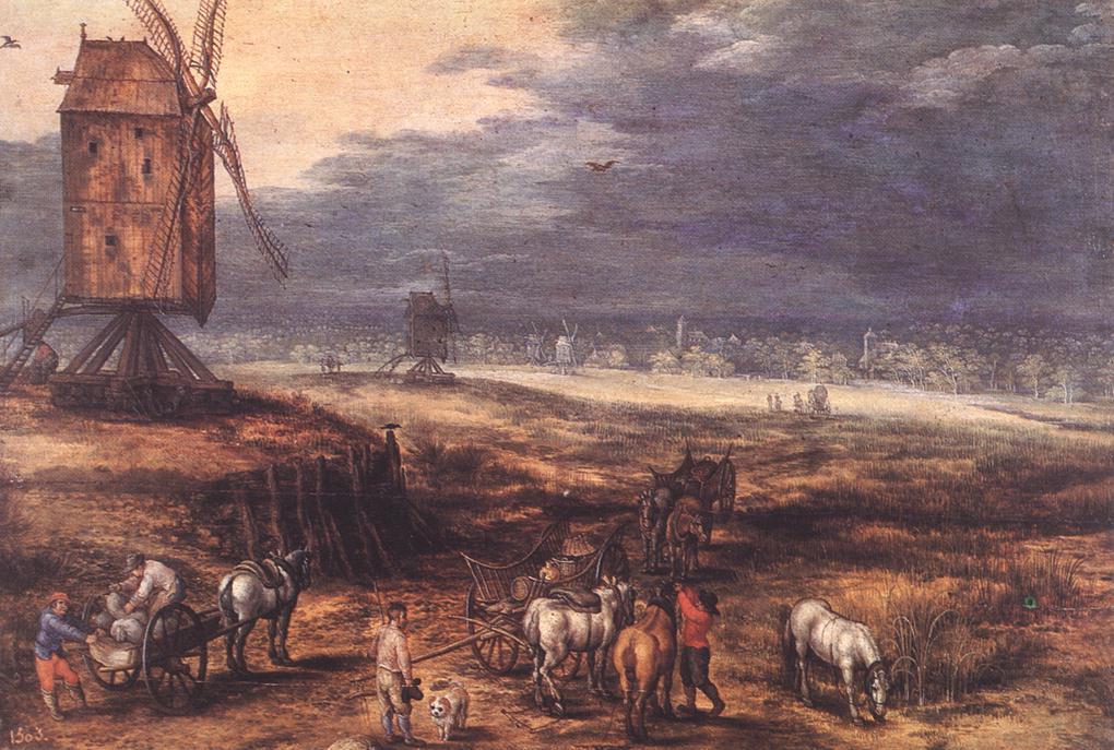 Landscape With Windmills C1607 | Jan The Elder Brueghel | Oil Painting