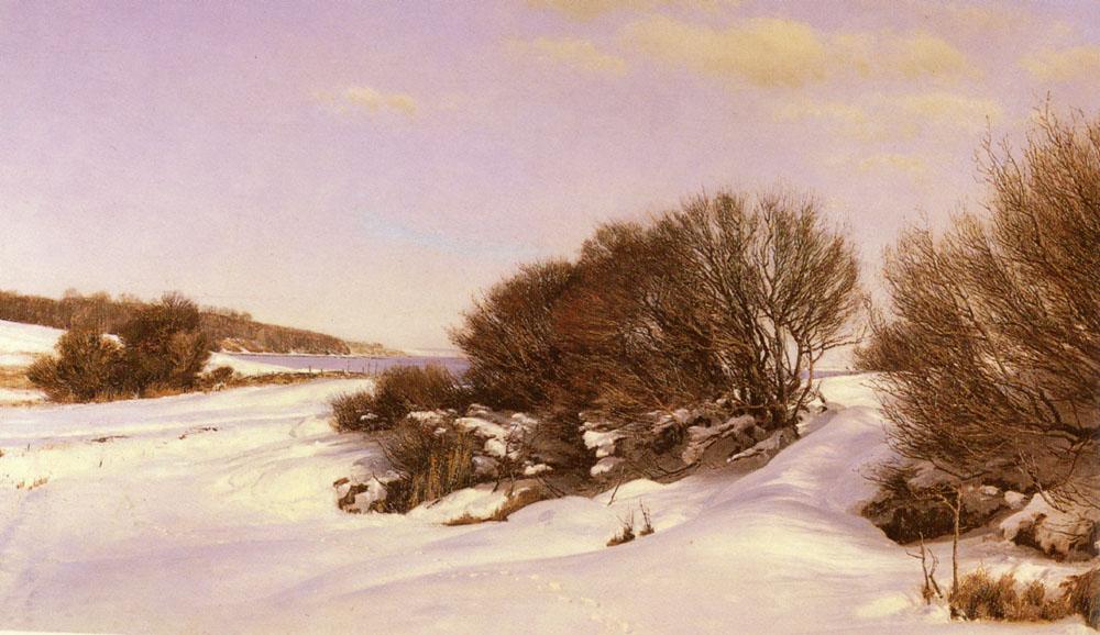 Winter Near The Lake | Janus Andreas Bartholin La Cour | Oil Painting