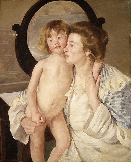 Mother and Child (The Oval Mirror) 1899 | Mary Cassatt | Oil Painting