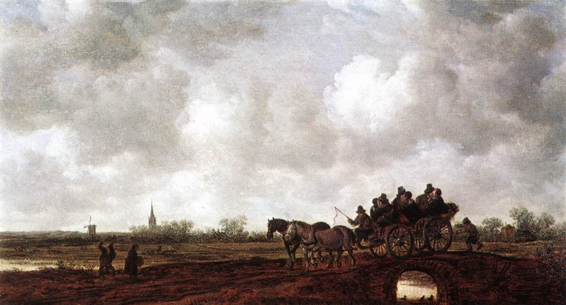 Horse Cart On A Bridge 1644 | Jan Van Goyen | Oil Painting