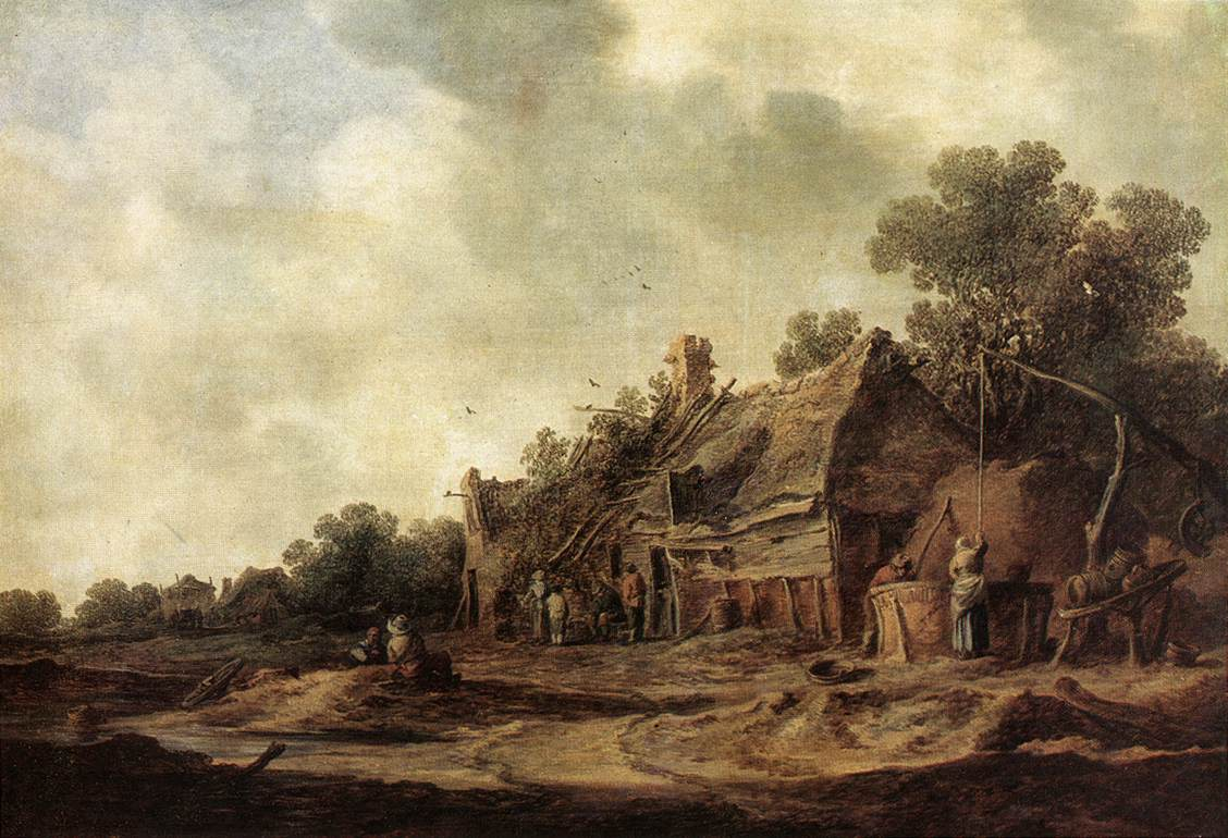 Peasant Huts With A Sweep Well 1633 | Jan Van Goyen | Oil Painting