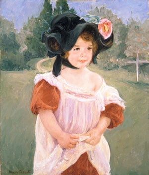 Spring Margot Standing in a Garden (Fillette dans un jardin) 1900 | Mary Cassatt | Oil Painting