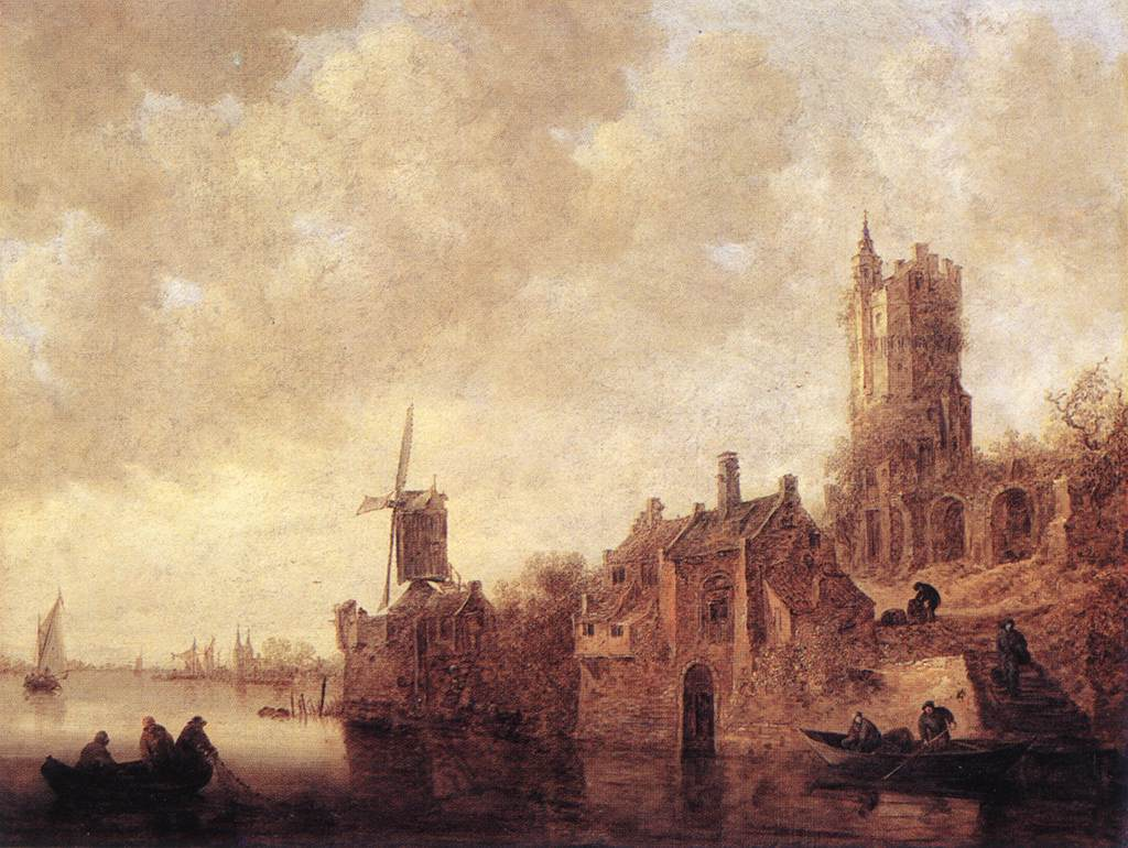 River Landscape With A Windmill And A Ruined Castle 1644 | Jan Van Goyen | Oil Painting