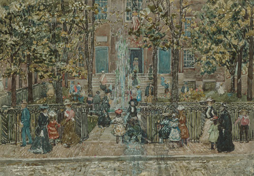 Court Yard West End Library Boston | Maurice Prendergast | Oil Painting