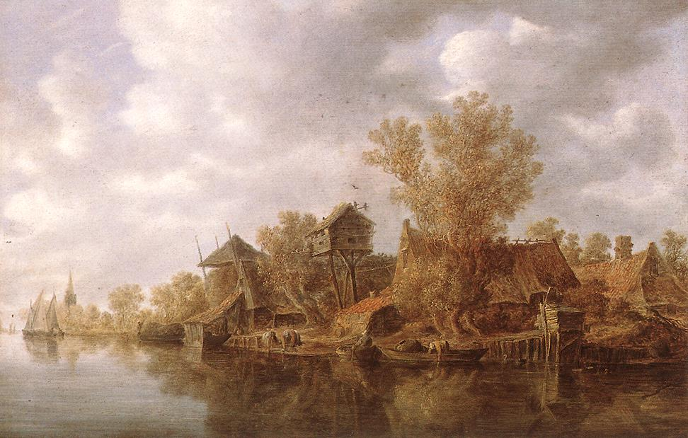 Village At The River 1636 | Jan Van Goyen | Oil Painting
