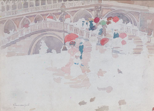 Umbrellas in the Rain Venice | Maurice Prendergast | Oil Painting