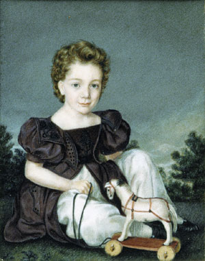 Boy with pull toy 1825 | Miss Leland | Oil Painting