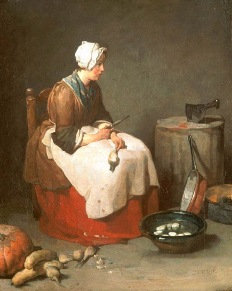 Girl Peeling Vegetables