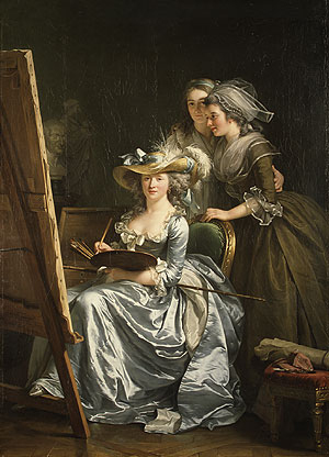 Self portrait with Two Pupils Mademoiselle Marie Gabrielle Capet and Mademoiselle Carreaux de Rosemond 1785 | Adelaide Labille Guiard | Oil Painting