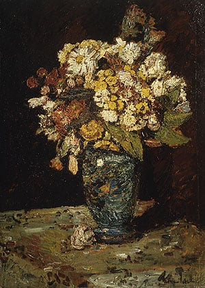 Flowers in a Blue Vase | Adolphe Joseph Thomas Monticelli | Oil Painting