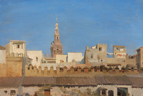 The Giralda of Seville Seen from the Rooftops ca 1836 | Adrien Dauzats | Oil Painting