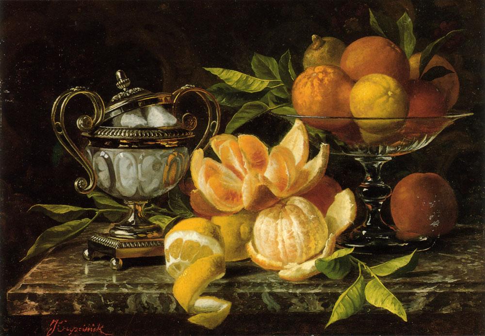 Nature Morte Aux Oranges et Citrons   Jean Belgian Capeinick   Oil Painting