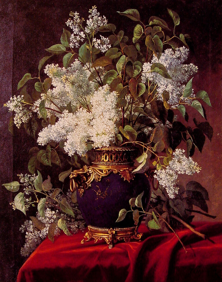 White Lilacs   Jean Belgian Capeinick   Oil Painting