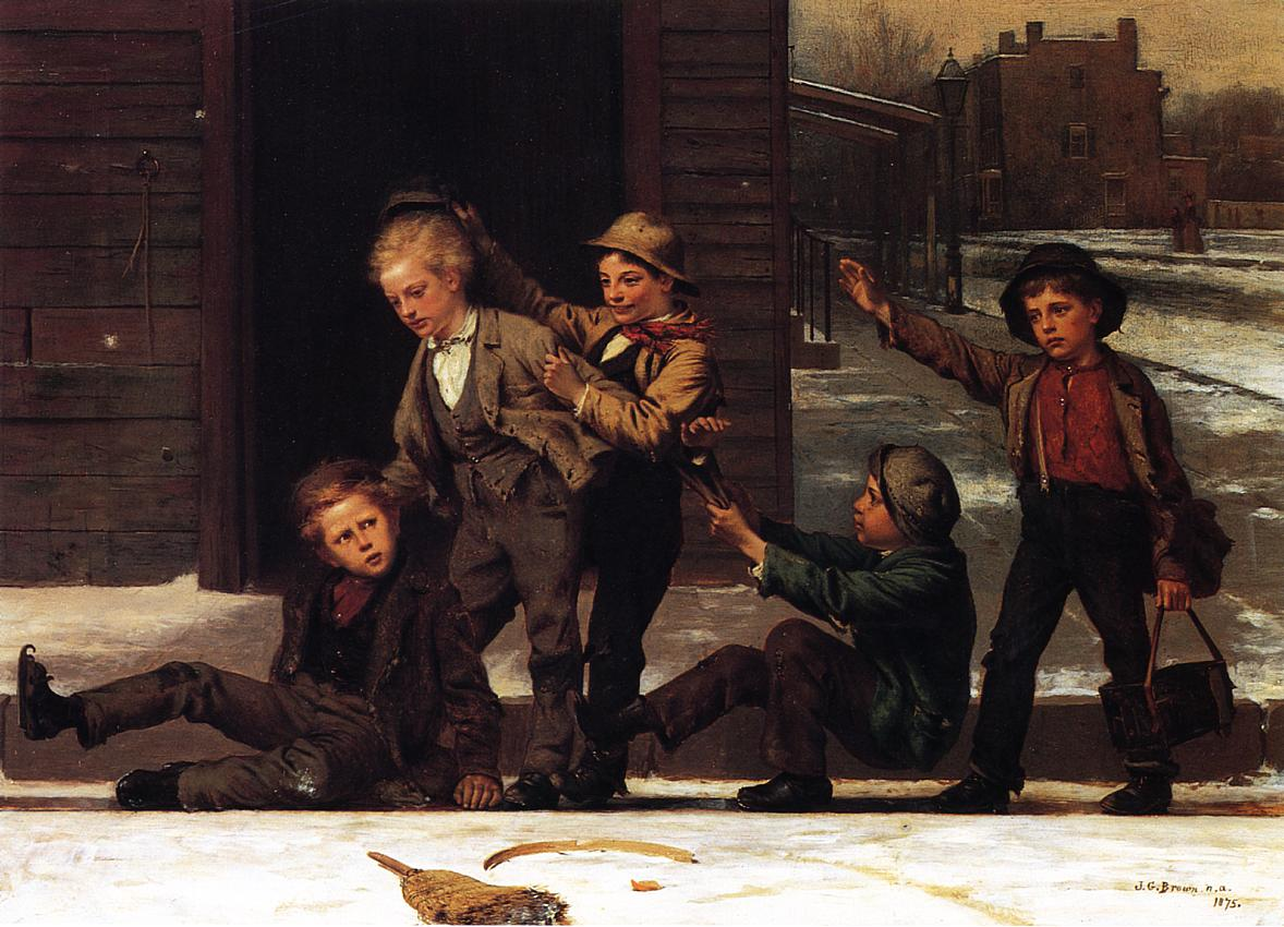 Winter Sports in the Gutter 1875 | John George Brown | Oil Painting