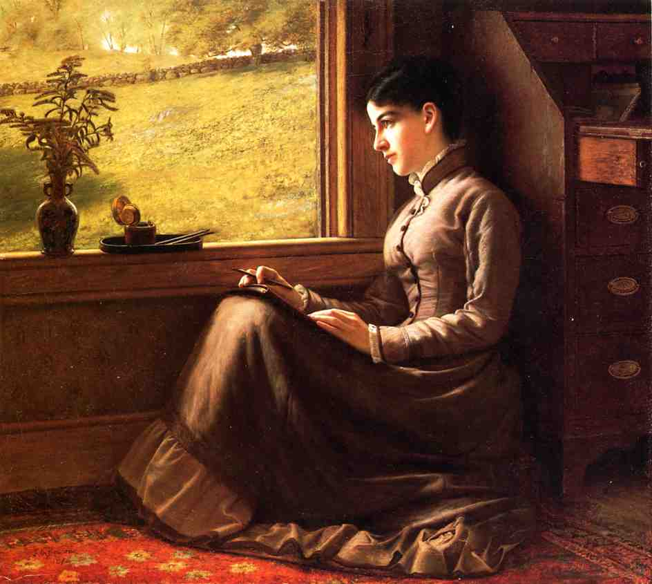 Woman Seated at Window 1872 | John George Brown | Oil Painting