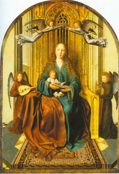 The Virgin And Child Enthroned With Four Angels 1495 | Quinten Massys | Oil Painting