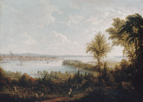 View of the Bay and City of New York from Weehawken 1840 | Robert Havell Jr | Oil Painting