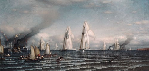 Finish  First International Race for America's Cup August 8 1870 | Samuel Colman | Oil Painting