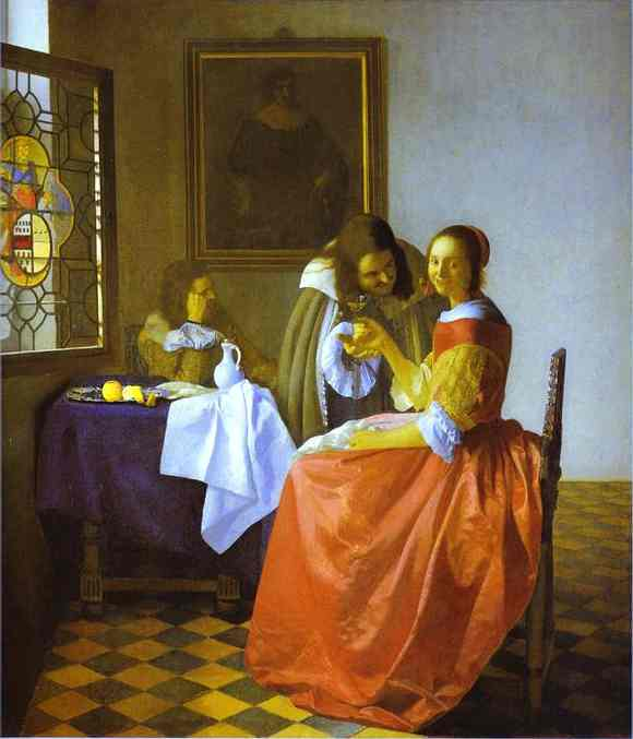 Woman And Two Man 1659-1660 | Jan Vermeer | Oil Painting