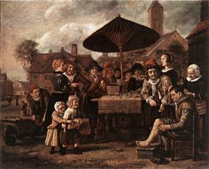 Market Scene With A Quack At His Stall 1650   Jan Victors   Oil Painting
