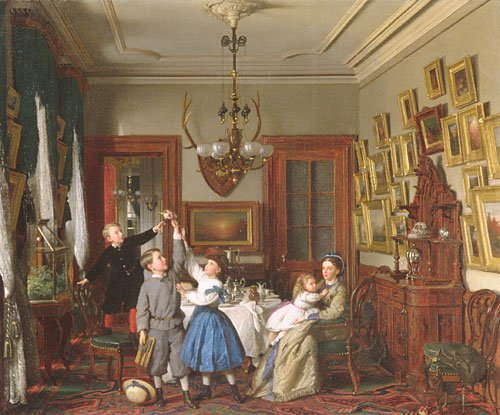 The Contest for the Bouquet The Family of Robert Gordon in their New York Dining Room 1866 | Seymour Joseph Guy | Oil Painting