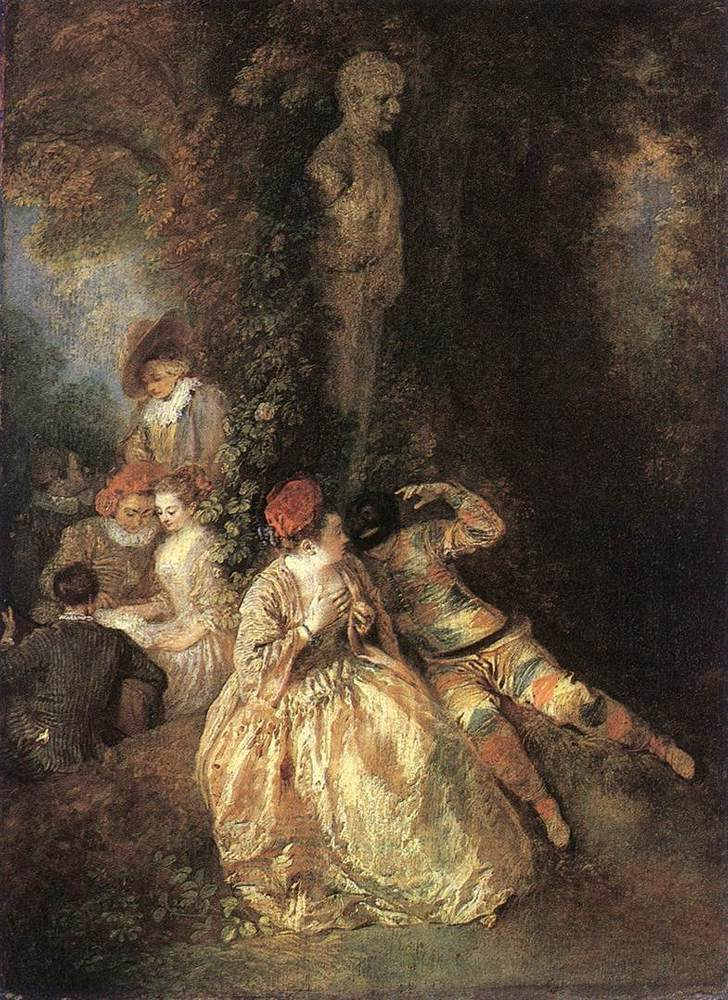 Harlequin and Columbine | Jean Antoine Watteau | Oil Painting