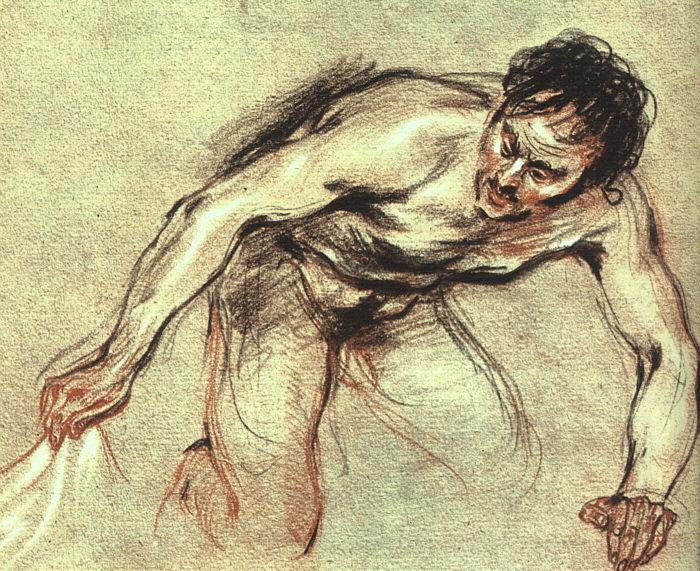 Kneeling Male Nude | Jean Antoine Watteau | Oil Painting