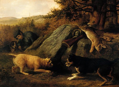 The Rabbit Hunters 1850 | Thomas Hewes Hinckley | Oil Painting