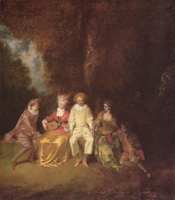 Pierrot content   Jean Antoine Watteau   Oil Painting