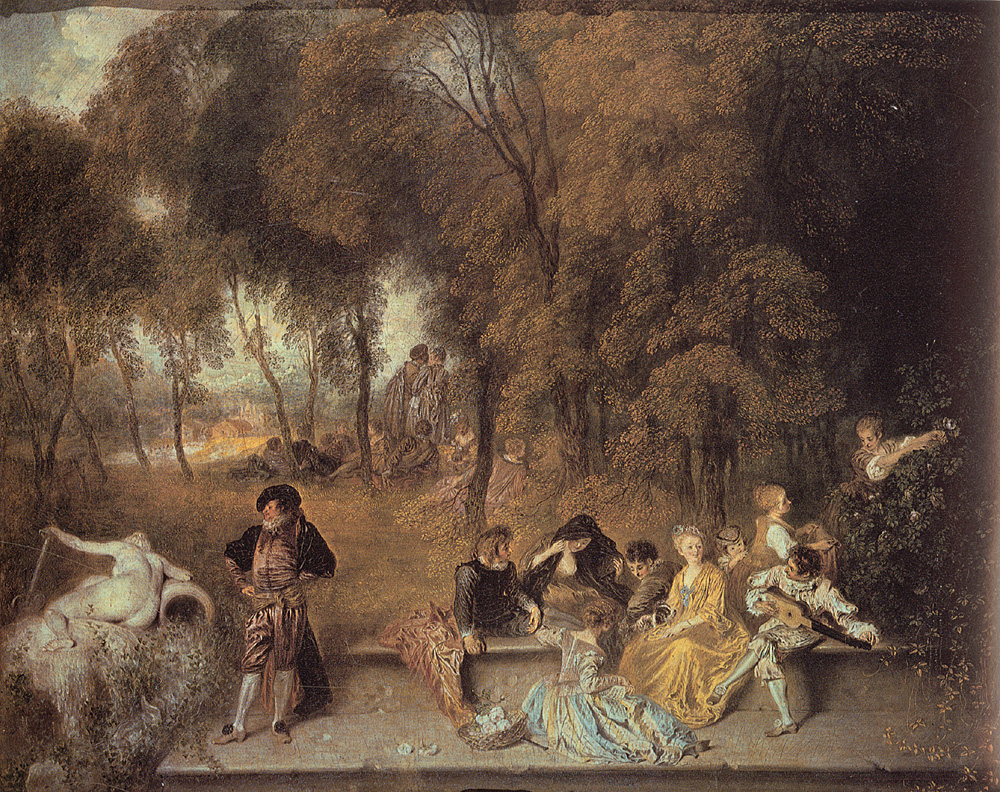 Reunion en Plein Air | Jean Antoine Watteau | Oil Painting