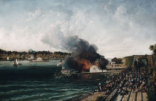 Burning of the Sidewheeler Henry Clay 1854 | Unknown artist | Oil Painting