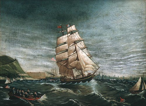 Ship in New York Harbor 1890 | Unknown artist | Oil Painting