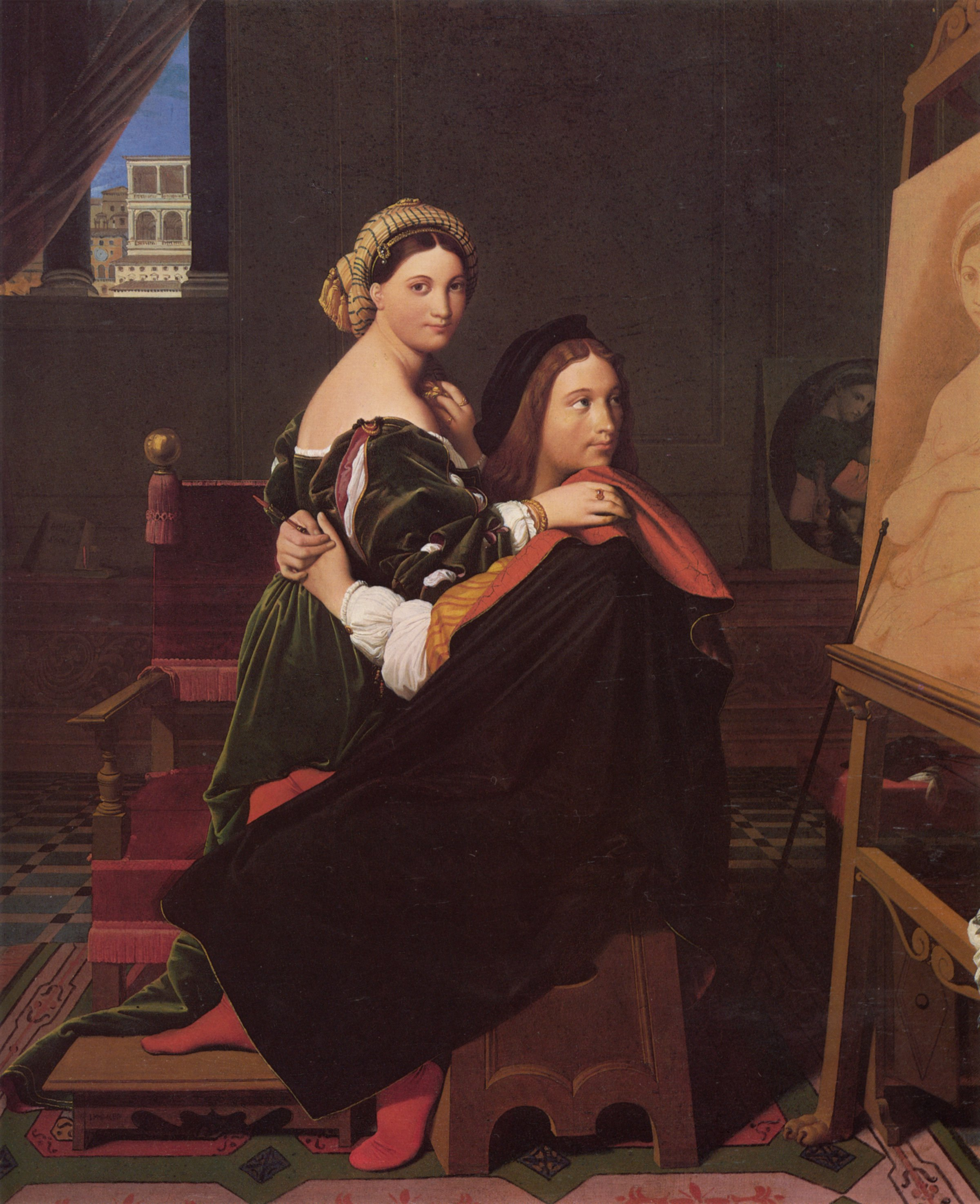 Raphael and the Fornarina   Jean Auguste Dominique Ingres   Oil Painting