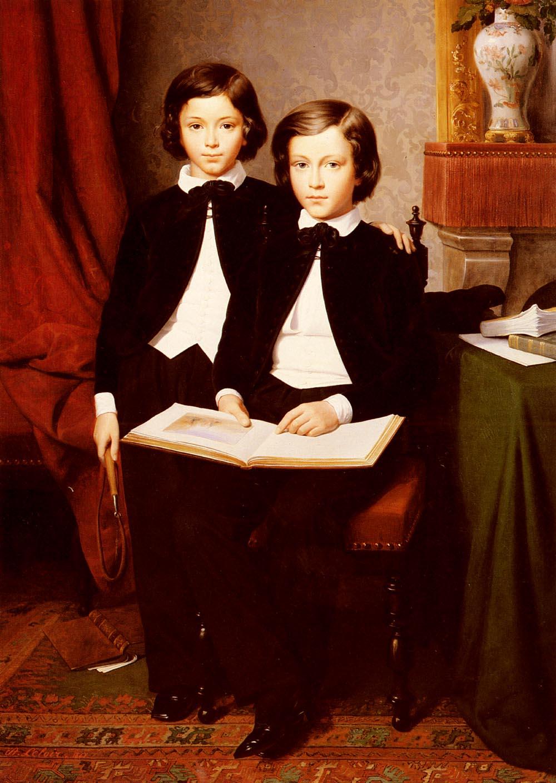 A Portrait Of Two Boys With A Sketchbook | Jean-Baptiste Auguste Leloir | Oil Painting