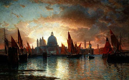Santa Maria della Salute Sunset 1870   William Stanley Haseltine   Oil Painting