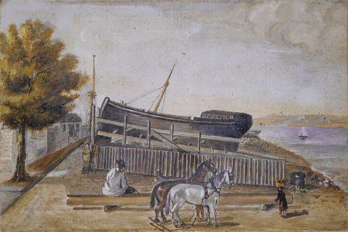 Berg's Ship Yard 1870s   William P Chappel   Oil Painting