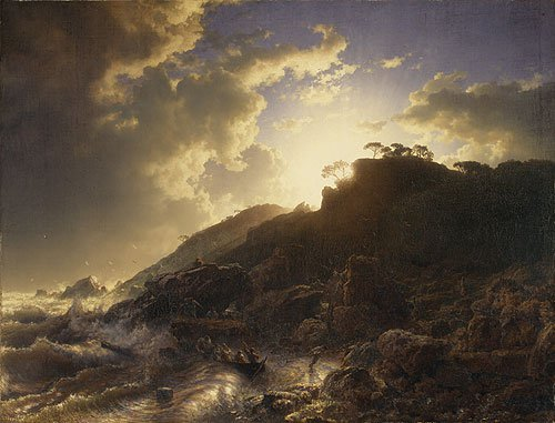 Sunset after a Storm on the Coast of Sicily 1853 | Andreas Achenbach | Oil Painting