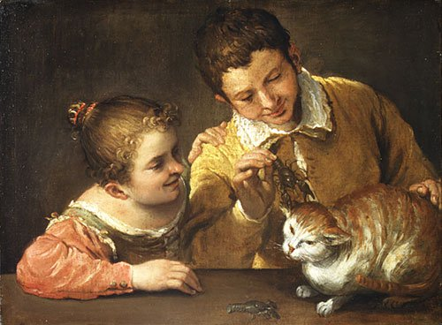Two Children Teasing a Cat ca 1590 | Annibale Carracci | Oil Painting