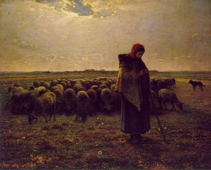 Shepherdess With Her Flock 1864 | Jean-Francois Millet | Oil Painting