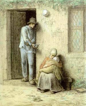 Le Nourrisson or Lenfant Malade | Jean-Francois Millet | Oil Painting