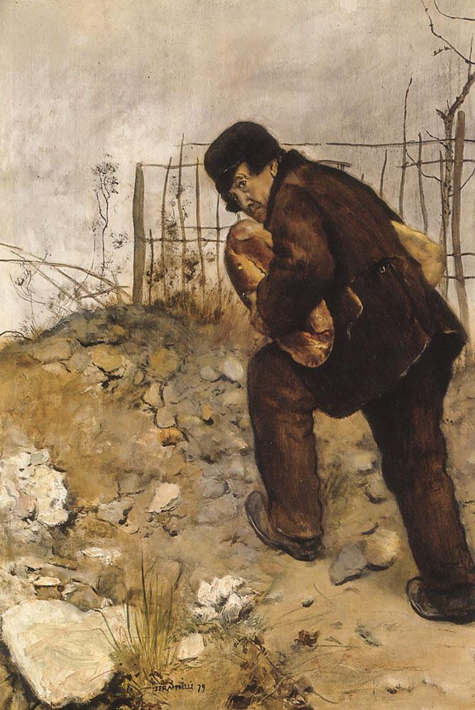 L Homme Aux Deux Pains | Jean Francois Raffaelli | Oil Painting