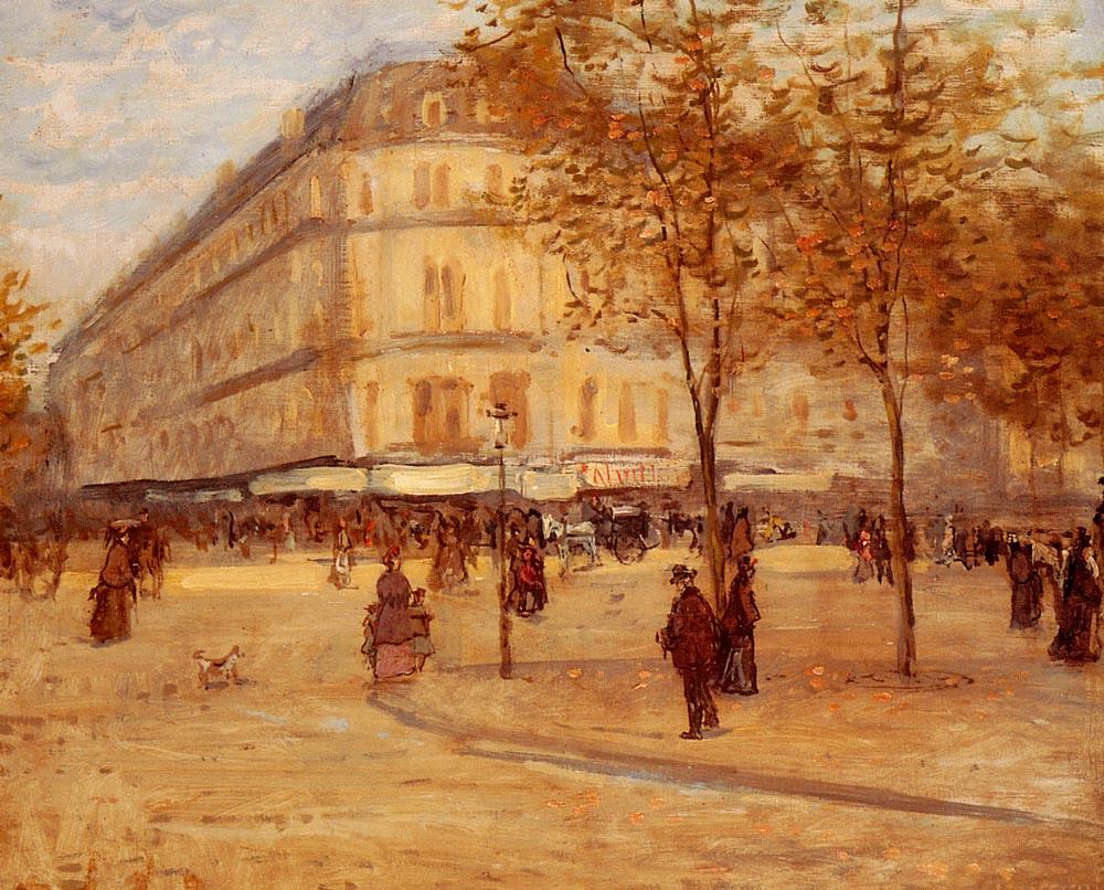 Place Du Theatre Francais  Paris | Jean Francois Raffaelli | Oil Painting