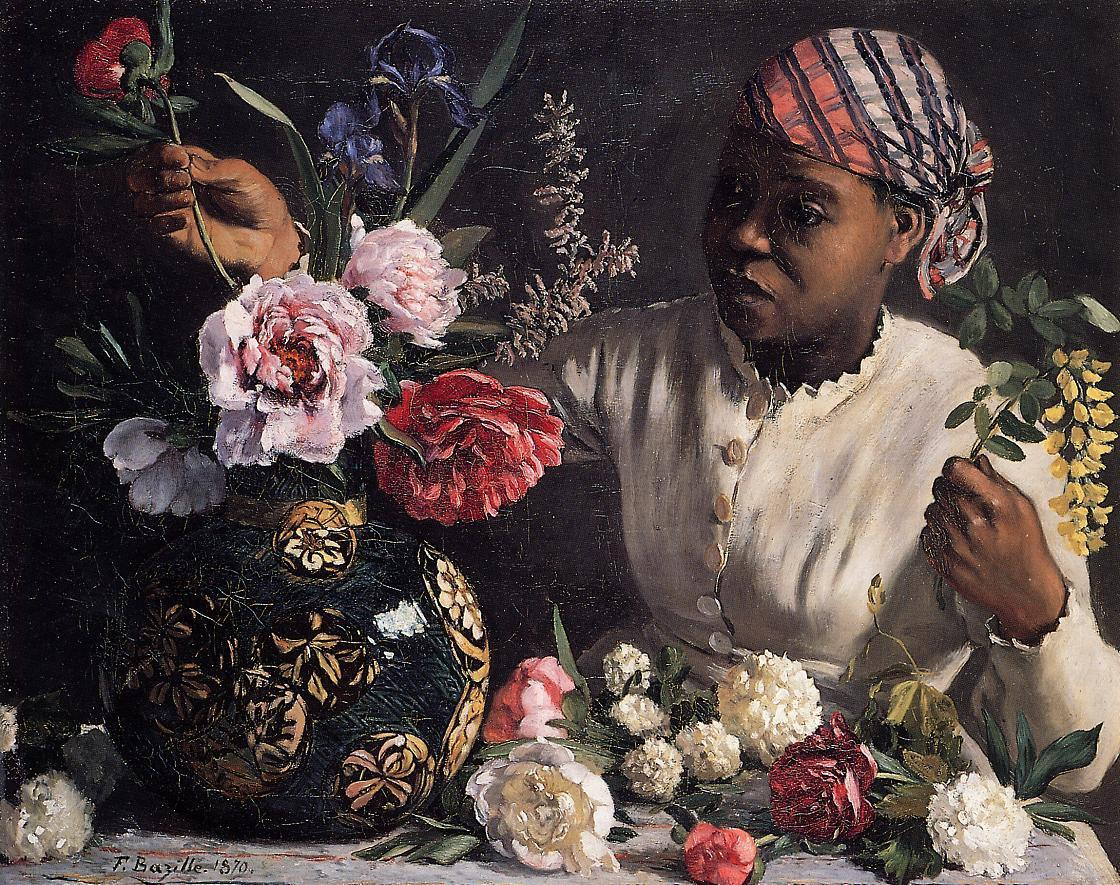 African woman with Peonies 1870 | Jean Frederic Bazille | Oil Painting