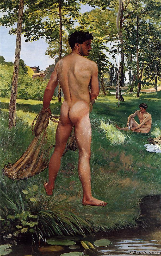 Fisherman with a Net 1868   Jean Frederic Bazille   Oil Painting