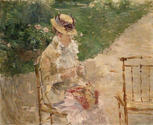 Young Woman Knitting ca. 1883 | Berthe Morisot | Oil Painting