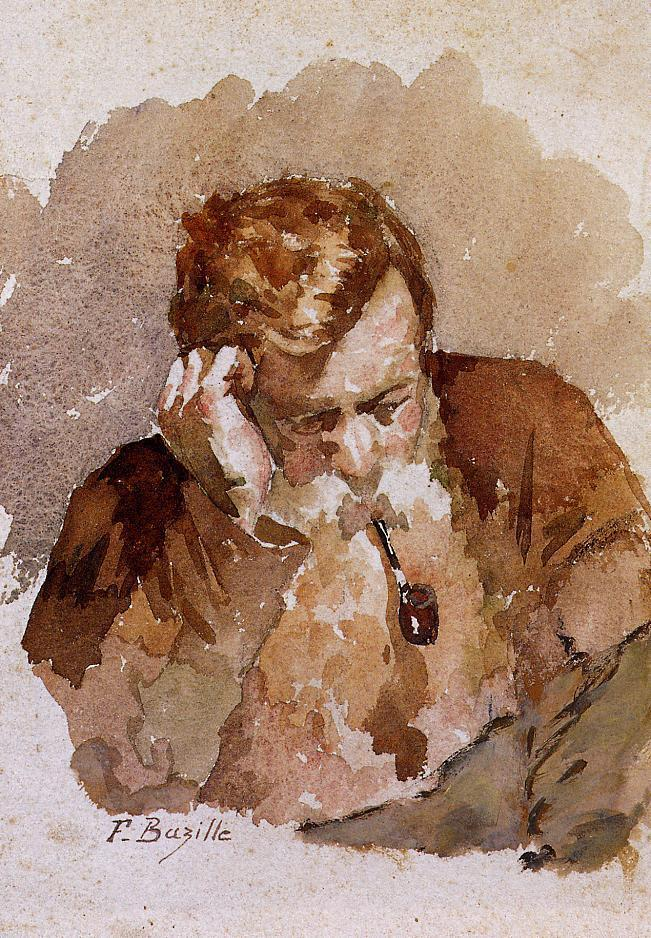 Man with a Pipe 1869   Jean Frederic Bazille   Oil Painting