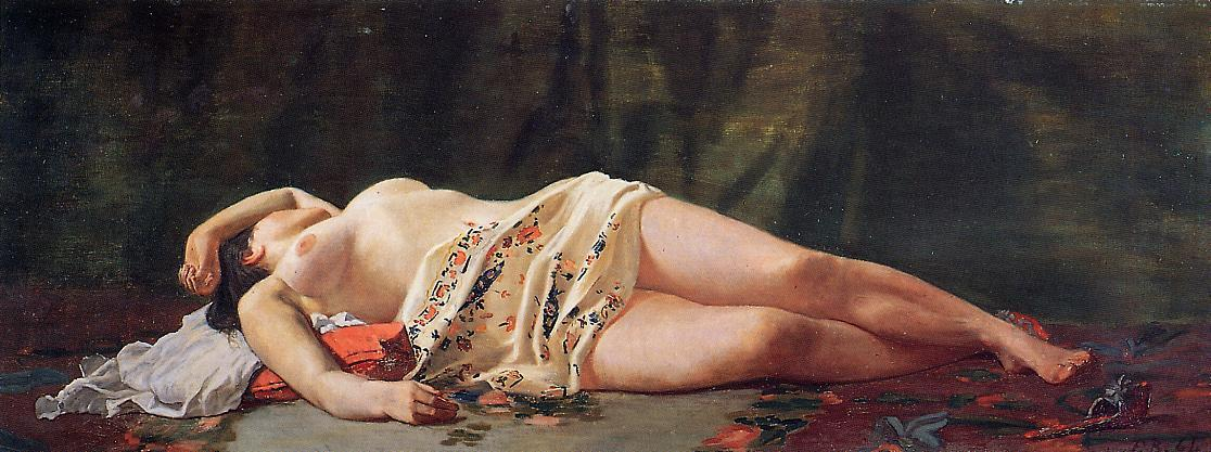 Reclining Nude 1864 | Jean Frederic Bazille | Oil Painting