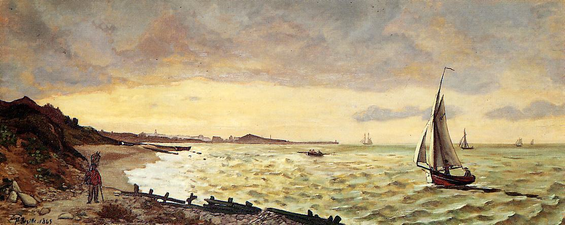Seascape The Beach at Sainte-Adresse 1865   Jean Frederic Bazille   Oil Painting