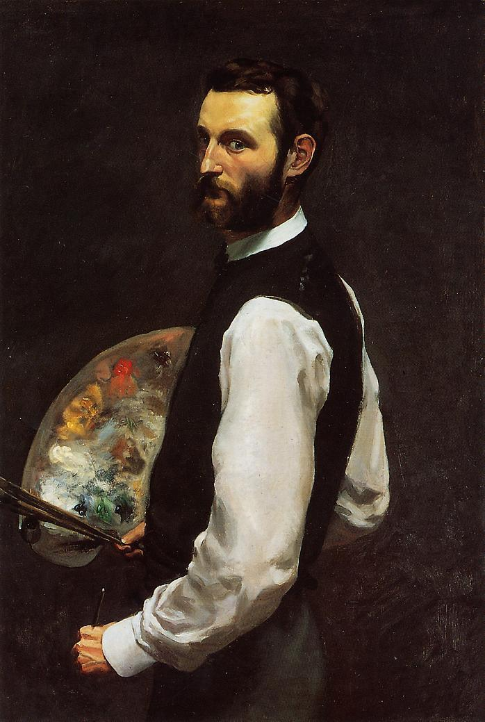Self Portrait with Palette 1865 | Jean Frederic Bazille | Oil Painting