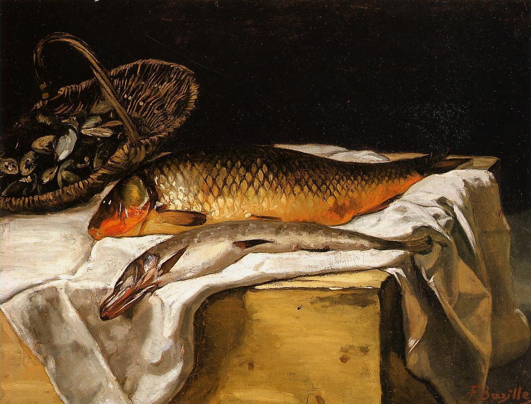 Still Life with Fish 1866 | Jean Frederic Bazille | Oil Painting